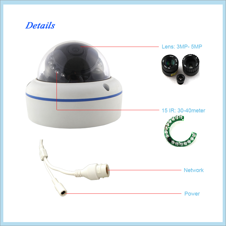 Beat You Competitor! Low Stream High Video Quality Hi 3516C 2MP IP Camera H.265 Dome camera, Super Save Storage