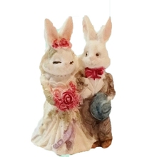 "Rabbit Pair Wedding Cake Topper Figurine 2"" Tall"