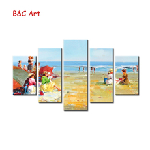 Beach Scenery Vintage Style 5 pieces Framed Art Print for Wholesale