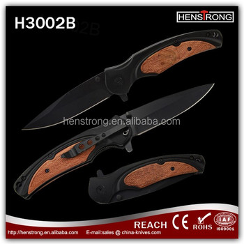 Handmade Semi-automatic Black Coated Open Pocket Knife