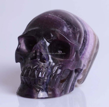 carved techinue fluorite/fluorspar crystal skull for sale or christmas decoration