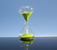 Hot Selling Colored Stripe Glass Blowing sand timer hour glass/green hour sand timer