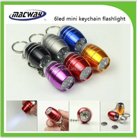 6led kids mini flat LED flashlight with keychain