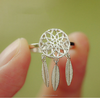 magic girls dream catcher design s925 sterling silver rings, silver leaf ring