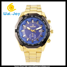 WJ-4421 Big Face cheap stainless steel gold luxury men watch