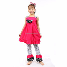 Christmas designs kids child red long tank top+ ruffles flower printed pants girls two pieces sets wholesale boutique clothing