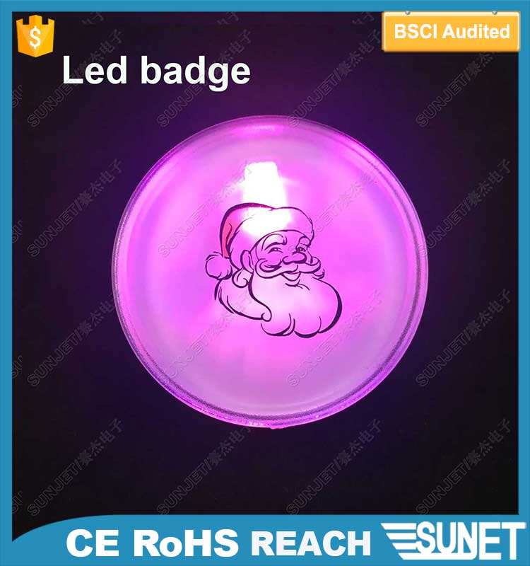 custom music sound voice sensor led glow name badge with pin
