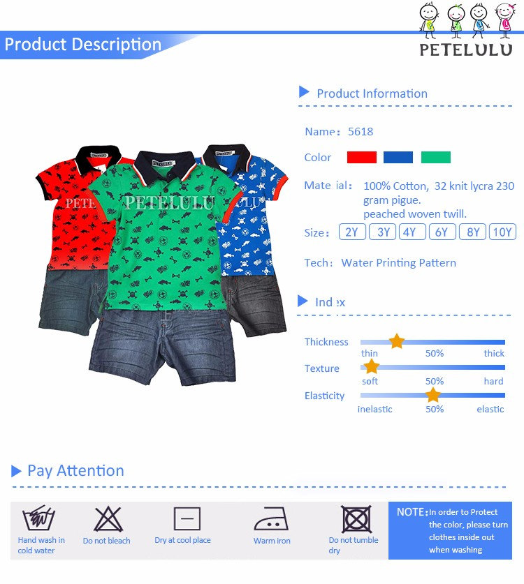 2017 All Over Printing Green European Style Baby Denim Shorts With Polo Shirt Wholesale Boy Wear Summer Clothes