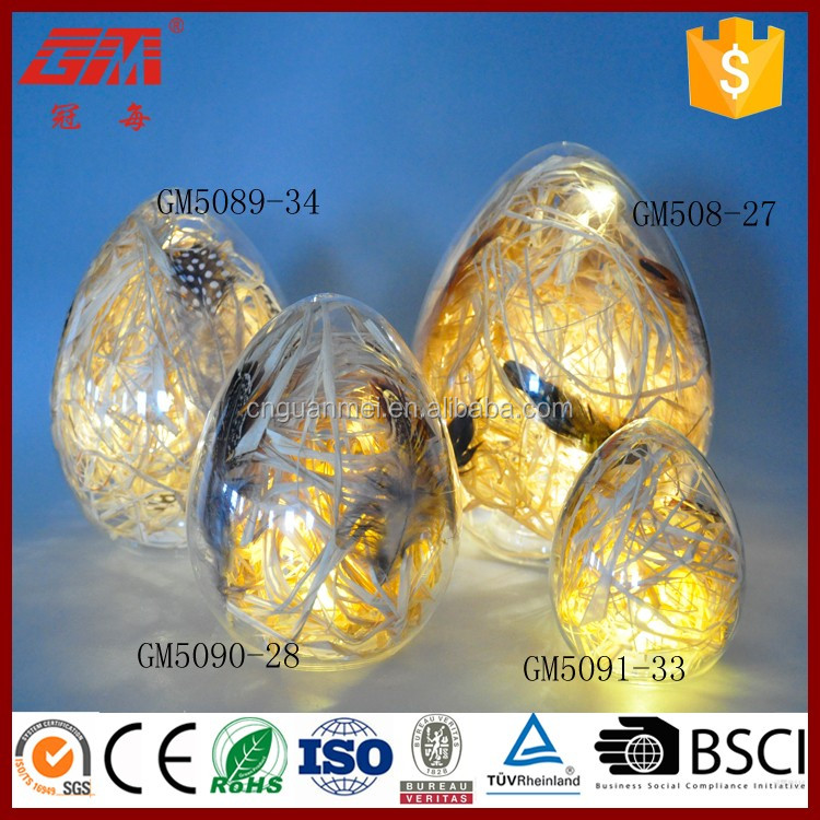 battery source hotsale glass egg decorations with feather inside
