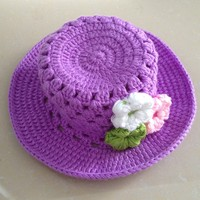 100% Cotton Crochet Flower Hat Children Free Crochet Patterns Hat
