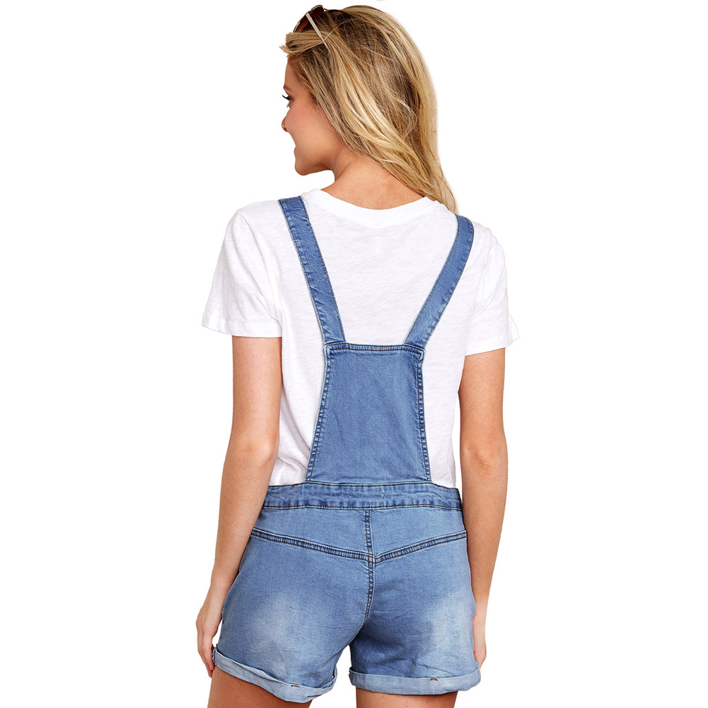 2019 Blue Fashion Denim Short Overalls Jeans Woman