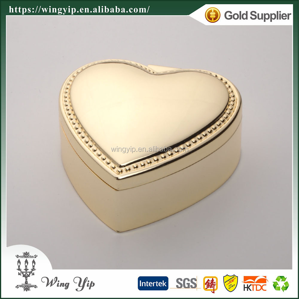 Wholesales Custom made Heart Shape Beaded metal Gold Jewelry box for decoration