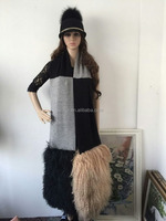 Fashion Ladiese Real Sheep Wool and Mongolian Lamb Leather Fur Scarf/Shawl