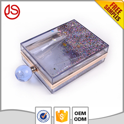 Best design factory wholesale clear acrylic lucite magazine clutch bag