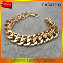PRIMERO man's 24K gold filled high quality heavy luxurious hypotenuse gold nugget Double chain bracelet