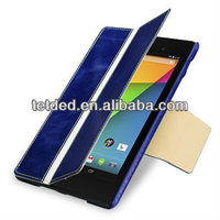 TETDED Premium Leather Case for Google Nexus 7 FHD 2013 -- Bellac (Hercules III: Blueberry / White / Blueberry)