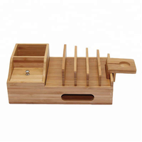 Bamboo Charging Station Desktop Organizer Storage Box Stand for Pen, Key, Knife