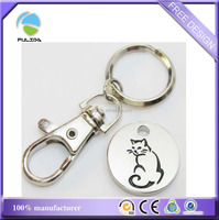 metal black enamel paint cat design round coin trolley key chain