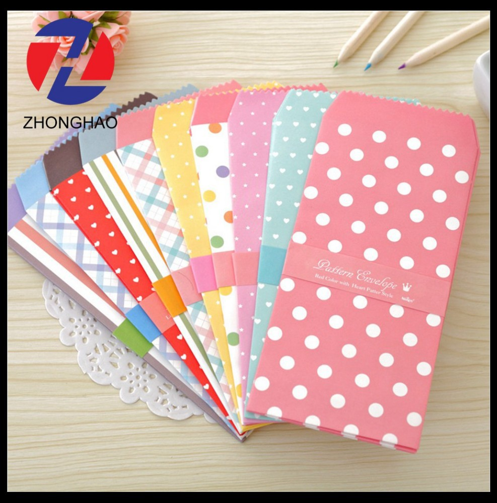 2015 new arrived wholesale gift design creative customized printed dot paper envelope