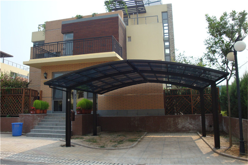 single and double carport with polycarbonate sheet and aluminum frame