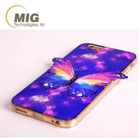 Blu-ray 3D colorful butterfly turnkey edge mobile phone case for iphone 6s 6 plus, cell phone case for iphone 6s 5s