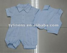 100% leinen baby blue boy sets mit weste