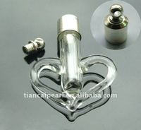 Heart Perfume oil vial pendant bottle w/SCREW CAP