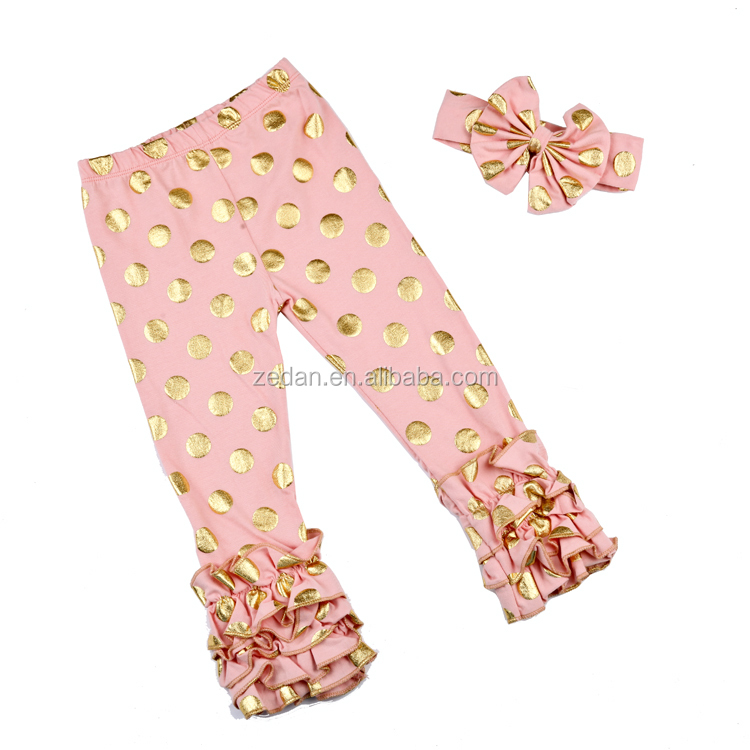 Sew sassy easter baby triple ruffle icing legging girls solid color knit pants for school