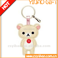 Promotional gifts animal bear shape leather keychains genuine leather keychain