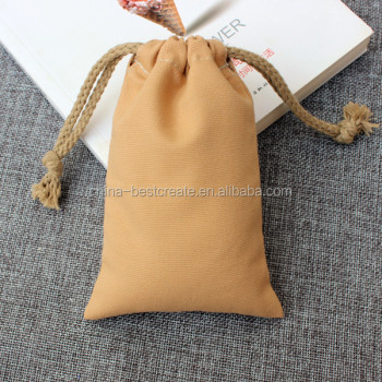 Custom color 12oz Drawstring canvas cotton bag with thick cotton string