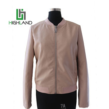 Popular PU Viscose Leather Short Slim Jacket Girls Pink Bomber Jacket