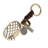 Men's Retro Punk Leather Key Ring Alloy Key Pendant Key Chain