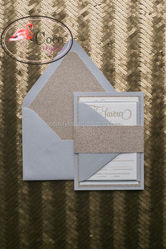 super top baby blue wedding invitation card with rose gold glitter