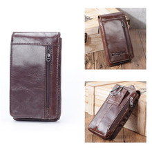 Boshiho Genuine Leather Wallets Men Cell Phone Pouch Belt Fanny Pack Vintage Travel Bag