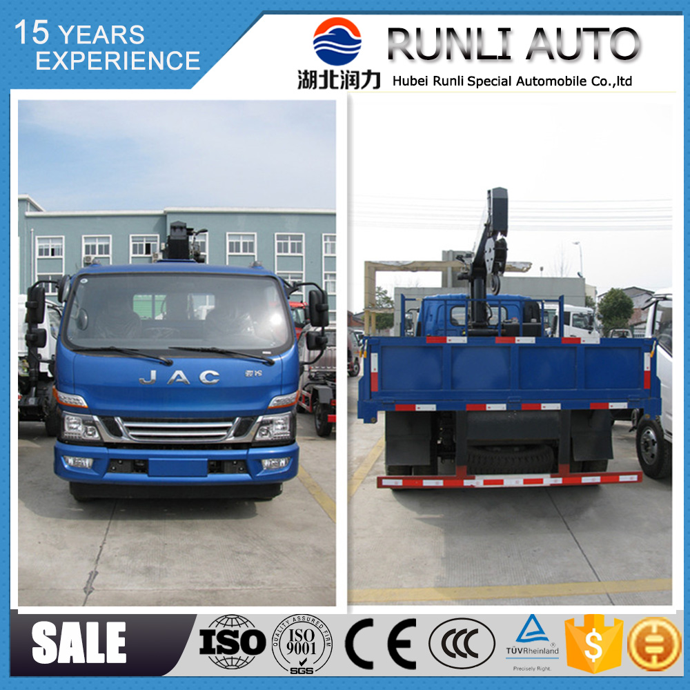 JAC 4x2 mini truck mounted crane good price for sale with Euro V emission standard