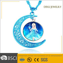 2016 fasion Frozen Elsa Blue Moon Star Pendant Necklaces