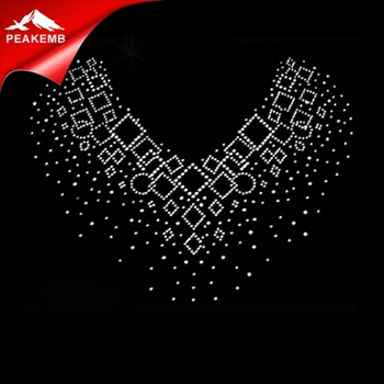 T-shirt Neckline Design Heat Transfer Rhinestone Applique