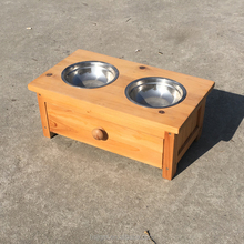 Raised Outdoor Wooden Dog Feeder With Storage