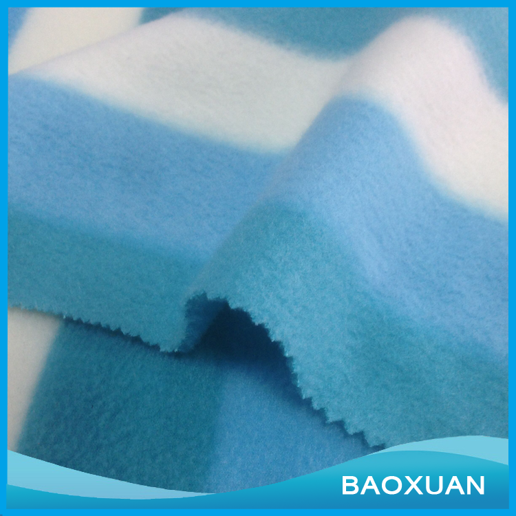 100%Polyester FDY brush both sides and anti-pilling one side blue green and white colors stripes polar fleece fabric for rug