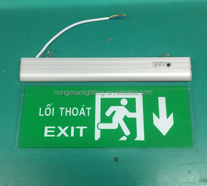 HONGMAO plastic wall ceiling mounted 3W acrylic exit emergency sign double sided led hanging sign board