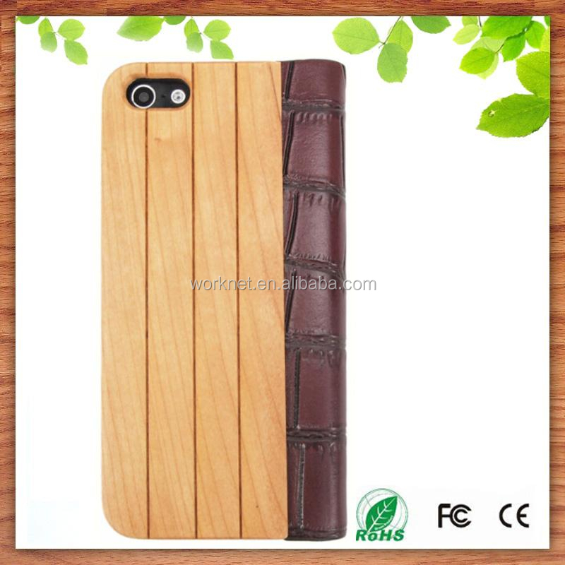 Shenzhen factory wholesale genuine leather wood case for Apple iPhone 5 5s book style with stand