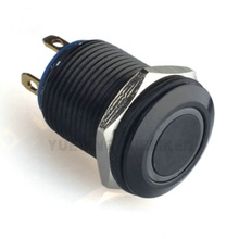 1235 12mm Momentary Ring Led Illuminated Black Switch Waterproof Push Button