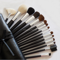 15 Pcs Pro Cosmetic goat hair Makeup Brush Set Kit Black Leather Bag Case