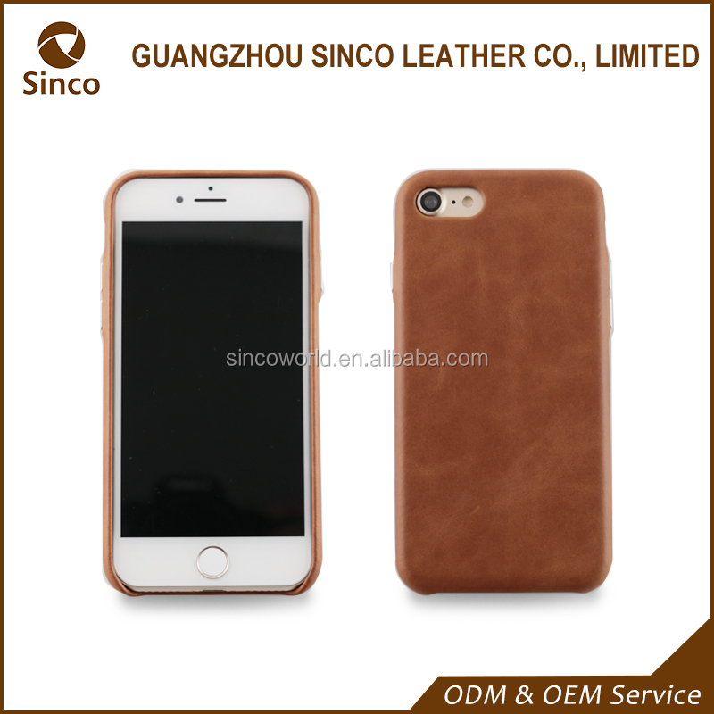 full wrapped edge genuine leather back cover top grain leather case with metal button