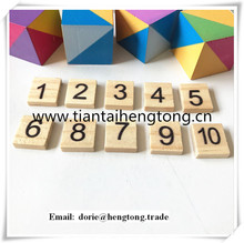 natural wood color varnished wooden tiles, scrabble tile,wooden numbers form 1 to 10