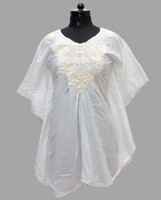 white swimsuit women beach wear / Cotton Poncho / Cotton EMbroidery Kaftan