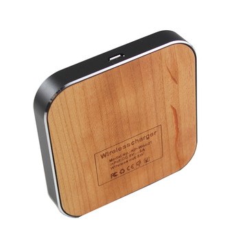 Mini Portable Wood Qi Standard Wireless Charger Charging Pad