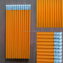 Yellow pencil wooden pencil HB With rubber head Office and School Supplies