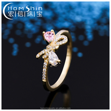 Women bow shape silver cz gold plating ring