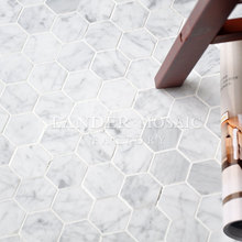Hexagonal white Carrara marble Mosaic tile for Kitchen